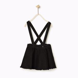Zara Bottoms - Zara girls black denim skirt with suspenders